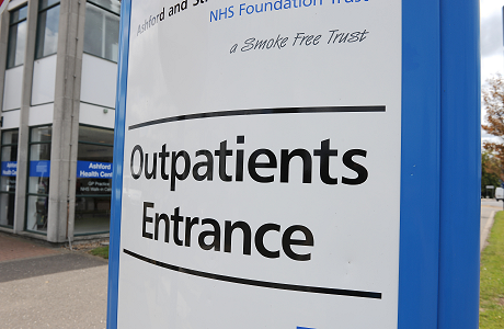 A sign outside Outpatients at Ashford