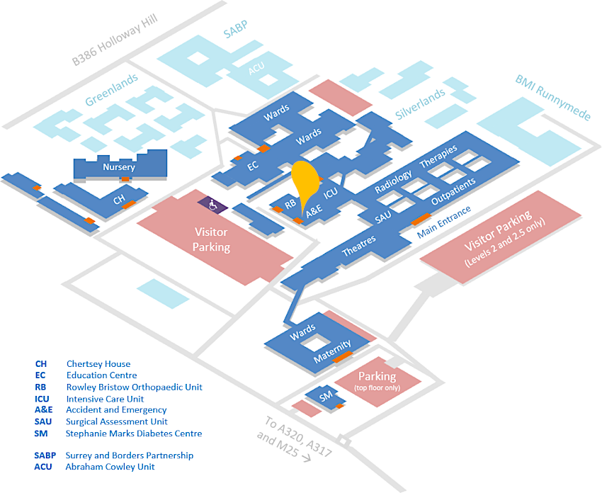 A map of Saint Peter's Hospital