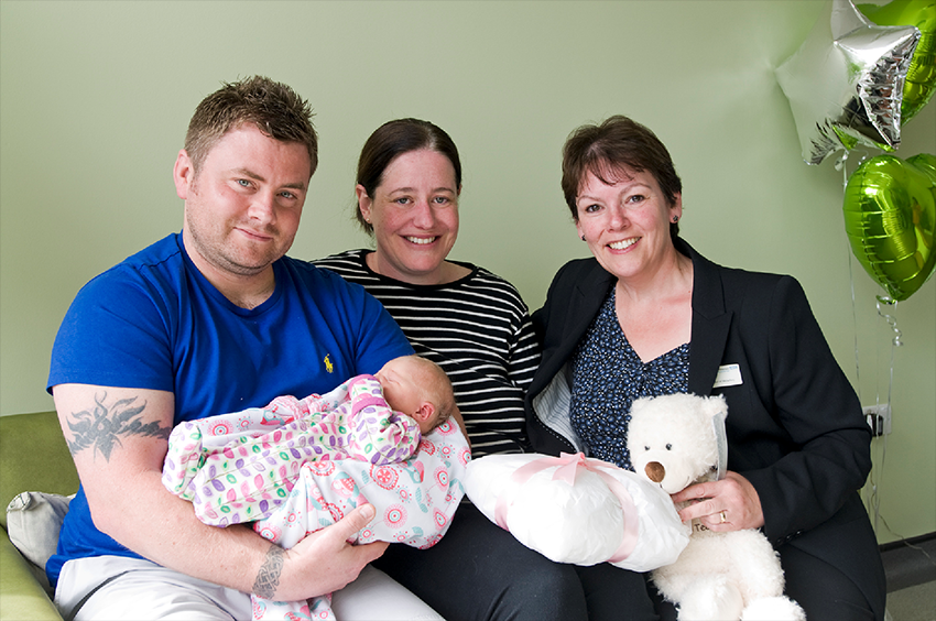 The first baby born at the Abbey Birth Centre